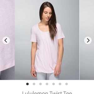 Lululemon Twist Tee in Heathered Barely Pink color